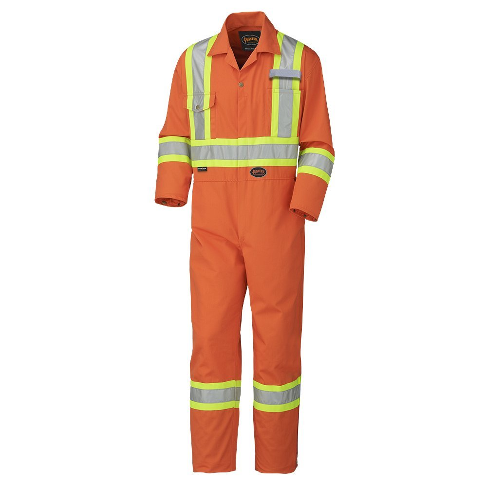 Pioneer Easy Boot Access /& Action Back CSA High Visibility Work Coverall Tall Fit V202151T-52 Industrial Wash Orange 52