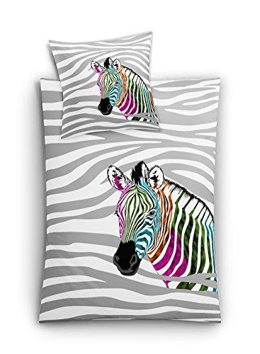 Kleine Wolke 6230148952 Mako-Satin Bettwäsche Zebra, 2-teilig, 135 x 200  cm, Mehrfarbig