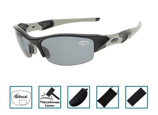 eba3edb691 Half-Rim Bifocal Reading Sunglasses Tinted Sun Readers Wraparound Designer  Style Sports Glasses Men Women Black Frame Grey Lens +1.5  Amazon.co.uk   Clothing