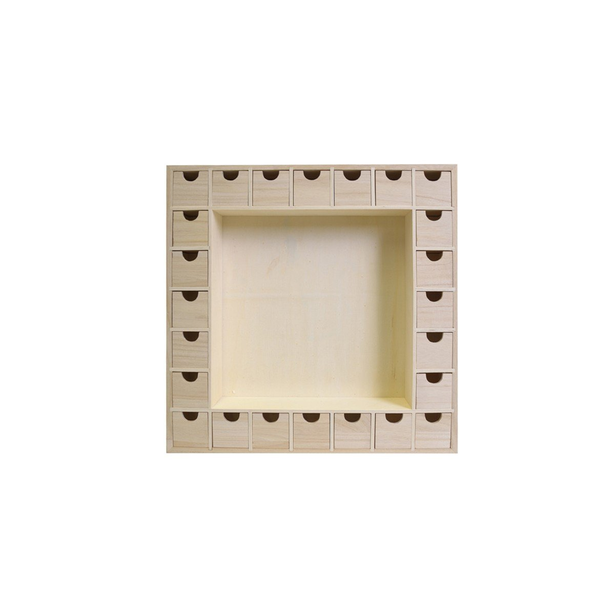 Artemio 39 x 39.5 x 6.5 cm Square Wooden Advent Calendar with Drawers to Decorate, Beige 14001541