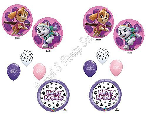 PAW PATROL SKYE & EVEREST 10 PC. Birthday Balloons Decoration Supplies Party Chase Ryder]()