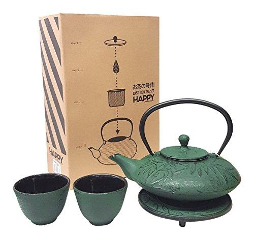 (Happy Sales HSCT-MBG07, Cast Iron Tea Pot Tea Set Mochi Bamboo Green)