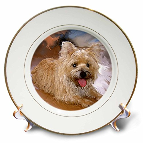 3dRose cp_4466_1 Cairn Terrier Porcelain Plate, 8-Inch (Cairn Porcelain Terrier)