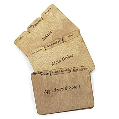 Cookbook People Wood Recipe Card Dividers 3x5 with Tabs