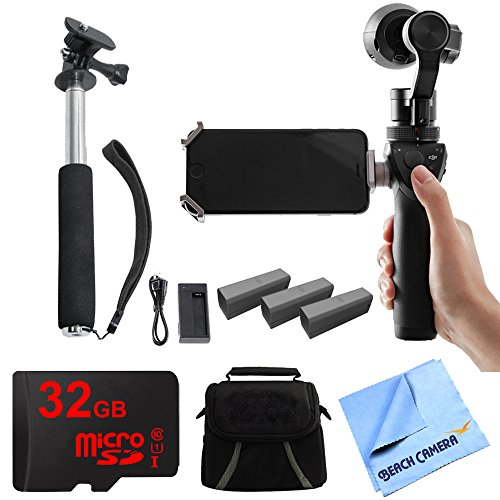 DJI Osmo Handheld 4K Camera & 3-Axis Gimbal Professional Kit includes Handheld 4K Camera, 3 Intelligent Flight Batteries + Charger, Selfie Stick, 32GB microSD Memory Card, Bag and Beach Camera Cloth by Beach Camera