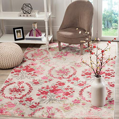 4' x 5'7 Vintage Flower Bouquet Ivory Pink Colorful Distressed Area Rug, Polyester Contemporary Decorative Shabby Chic Floral Bloom Bright Pretty Vibrant, Rectangular Living Room Kitchen Accent Carpet ()