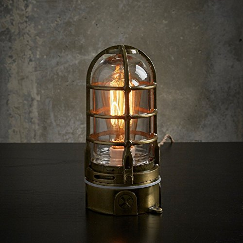 The ''Vapor Touch'' in Antique Brass - Nautical style Industrial Edison table lamp w/ Touch Dimmer | MillerLights Original by MillerLights