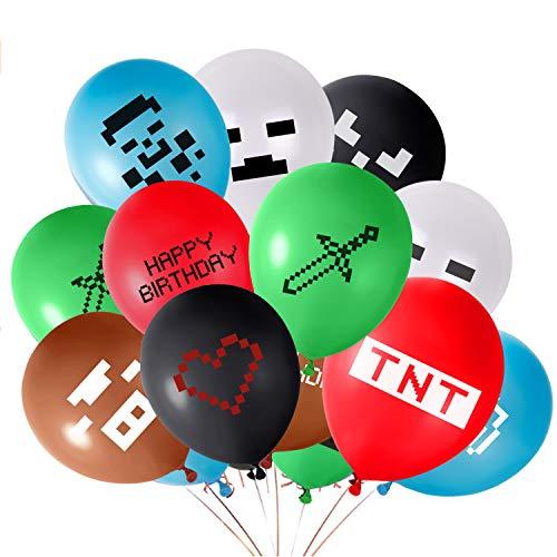 Suministros para fiestas de temas de juego: incluye 6 colores con 12 estilos diferentes, 24 piezas de 12 globos de látex en total Material ecológico: hecho de látex de buena calidad, no tóxico Admite el llenado de aire y helio, los globos de látex se pueden llenar con aire o helio, sugiere inflarlos con aire por bomba