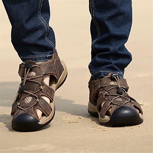In Da Esterni Casual In spiaggia Scarpe Uomo EU 38 Pelle Sandali 3 Colore Pelle Wagsiyi Marrone Traspiranti 2 Scarpe Scarpe Dimensione pantofole da Marrone qSwXzt