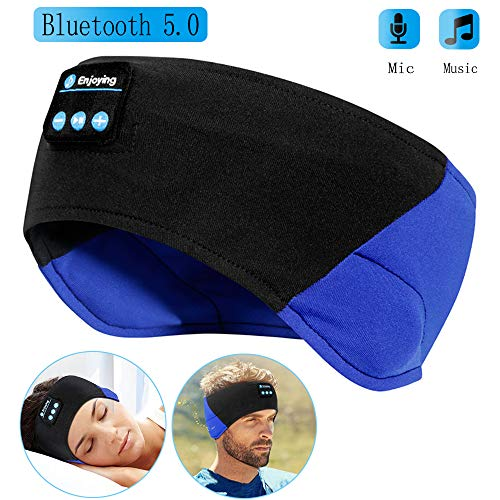 Bluetooth Sleeping Headband Headphones, The Young's Bluetooth Headband Wireless Sleep Headphones for Workout Jogging Yoga - Black and Blue ()