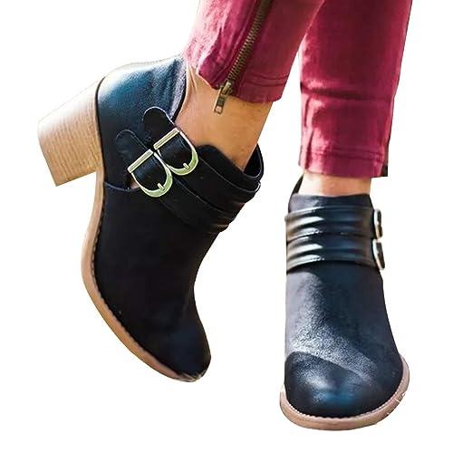 Zapatos para Mujer Botas Mini Moda Apuntado Botines Hebilla de Cinturón Botas Color Sólido Botas Martin Otoño Invierno Talón Grueso Amarillo/Negro EU 34-42: ...