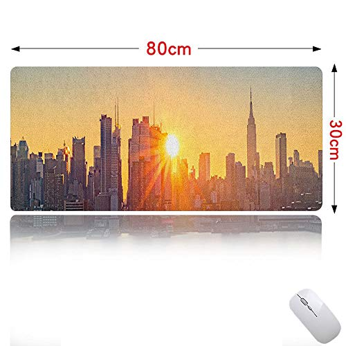 (City Mouse pad Cute Tranquil Sunrise at Midtown Manhattan United States NYC Waterfront America Ideal for Office Computer Pale Blue Peach Tan 31×12in)