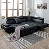 Sectional Corner Sofas Sets for Living Room, Leather Sectional Corner Sofa with Functional Armrest and Support