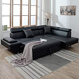 Amazon Com Corner Sofas Sets For Living Room Leather Sectional