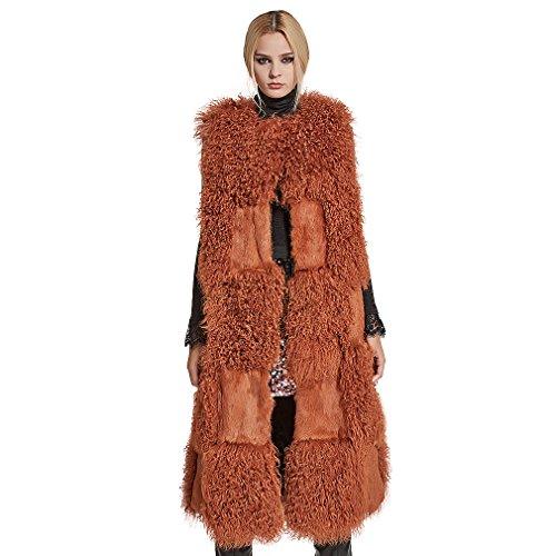 滑る感情のタウポ湖ファーベストレディース ロング毛皮ジャケット ラムファーアウター リアルラビットファーノー カラーコート、(ファー ストーリー)Fur Story 17217