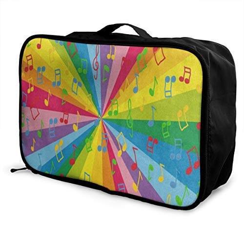 Music Note Rainbow Portable Suitcase Designer Trolley Handle Luggage Bag ()