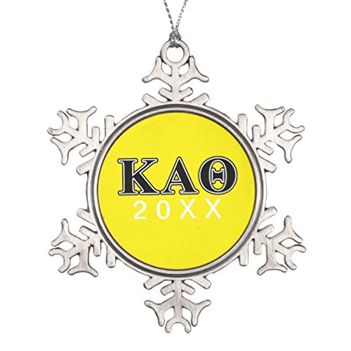 ACBshop Gift for Christmas Gift for New Year Kappa Alpha Theta Black Letters Snowflake Pewter Christmas Ornament