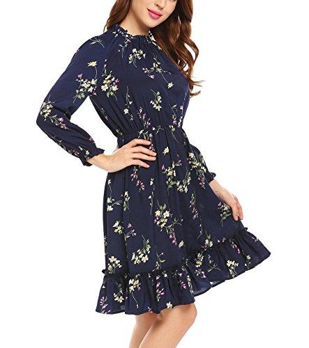 ... Zeela Damen Herbst Langarm kleid Knielang Rüschen Floral kleid A-linie  Blumen Vintage Abendkleid Casualkleid ... b1aa947c0f