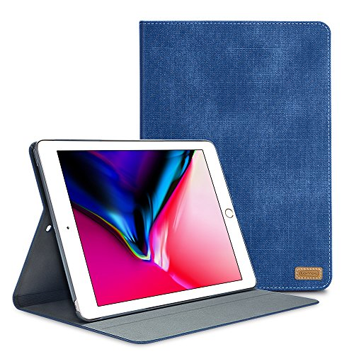 New iPad 9.7 inch 2018/2017 Case, TORRAS [Faded Denim Design] Leather Jeans Adjustable Stand Folio Cover Case for New iPad 5th(A1822, A1823)/iPad 6th Generation(A1893, A1954) - Blue