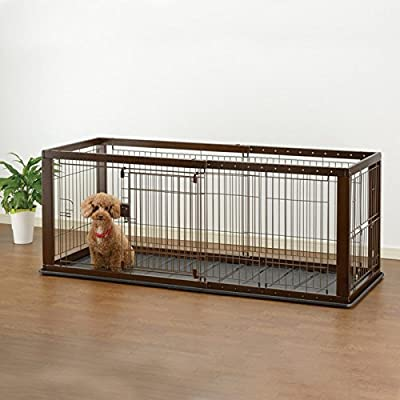 Richell Expandable Pet Crate with Floor Tray - Dark Brown