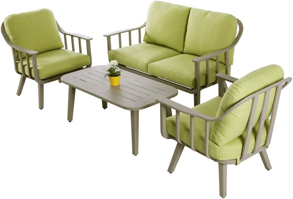 Nuu Garden 4 PC Aluminum Conversation Sofa Set Outdoor Sectional Furniture for Backyard Patio Porch Garden Poolside Balcony w Green Cushion