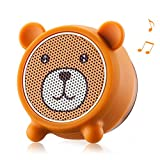 Mini Bluetooth Speaker Aurtec Cute Animal Portable Wireless Outdoor Stereo Audio with Superior Sound and Richer Bass,Remote Selfie Function,Bluetooth 4.2,Handsfree Calling-Bear