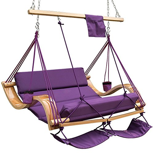 Deluxe Rope Hammock - Lazy Daze Hammocks Deluxe Oversized Double Hanging Rope Chair Cotton Padded Swing Chair Wood Arc Hammock Seat with Cup Holder,Footrest&Hardware, Capacity 450 lbs (Purple)
