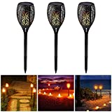 SUPOW Solar Lights, Garden Solar Torches Lights 96 LED Waterproof Flickering Flames Torches Lights for Outdoor Patio Deck Yard Driveway Christmas Halloween festival. (3 Pack)