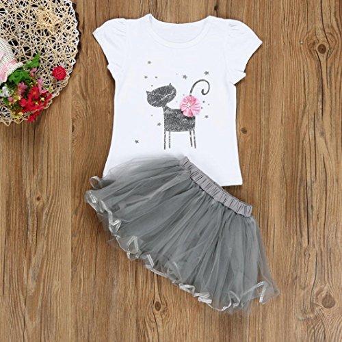 Filles Imprimé De Peu Cartoon Robe Bébé Amlaiworld Chaton Jupe Chemise Blanc Enfants pw8fx