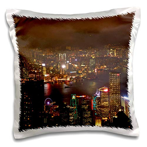 3dRose Danita Delimont - Hong Kong - Kowloon, Victoria Harbor, Central, from Victoria Peak, Hong Kong - 16x16 inch Pillow Case (pc_312604_1)