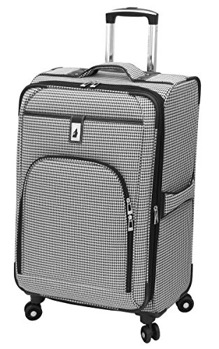 London Fog Cambridge 25 Inch Expandable Spinner, Black/White ()