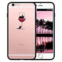 iPhone SE Case, SwiftBox Clear Black Case with Design for iPhone 5 5S SE (Cat and Red Wine)