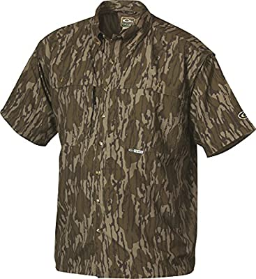 Drake Short Sleeve Vented Wingshooters Casual Shirt (Original Mossy Oak Bottomland) (Men's Medium)