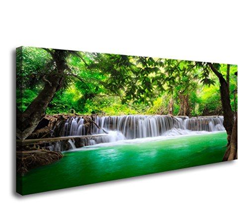 (Cao Gen Decor Art-S01450 1 Panels Wall Art Beautiful Waterfall Prints Green Forest Nature Stretched and Framed Canvas Paintings Stream Water Landscape for Home Decorations Wall Decor Artwork )