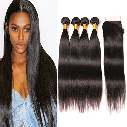 Brazilian Straight Hair 4 Bundles With Closure Pre Plucked Lace Front With Baby Hair Bleached Knots Unprocessed Virgin Human Hair Extensions Remy Hair Bundles Weave Vendor Dark Brown 18 20 22 24+16