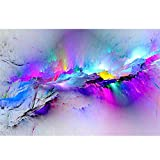 MZS Tec Oil Painting Wall Pictures, Living Room Bed Room Home Decor Abstract Clouds Colorful Canvas Art (Colorful, 23.6x35.4 inch)