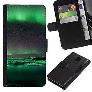 Stuss Case / Funda Carcasa PU de Cuero - Aurora Borealis Antártida - Samsung Galaxy Note 3 III