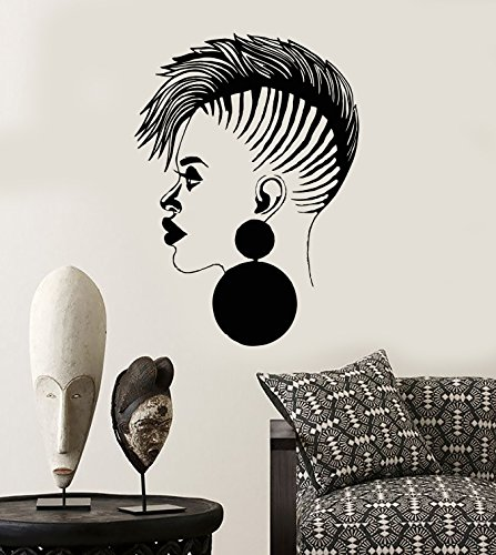 DesignToRefine Vinyl Wall Decal Beauty Salon African Woman Black Lady Stickers Large Decor (1040ig) Matte Black ()