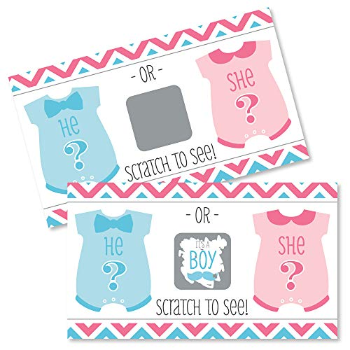 Boy Chevron Gender Reveal - Baby Boy Gender Reveal Scratch Off Cards - Baby Shower Game - Set of 22 -