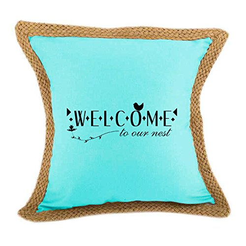 Welcome, To Our Nest Sofa Bed Home Decor Canvas Jute Pillow Cover Turquoise