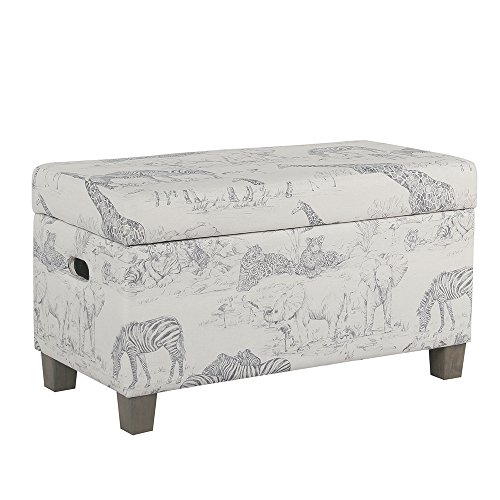 HomePop Youth Upholstered Storage Bench with Hinged Lid, Grey Jungle Pattern