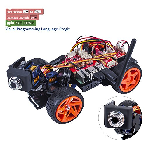 SunFounder Raspberry Pi Smart Video Car Kit V2.0 Block Based Graphical Visual Programming Language Remote Control by UI on Windows/Mac and Web Browser Electronic Toy with Detail Manual by SunFounder