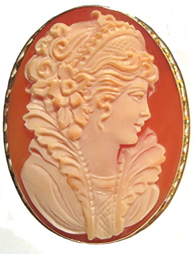 Master Carved, Princess Cameo Brooch Pendant Solid 14k Yellow Gold Italian ...