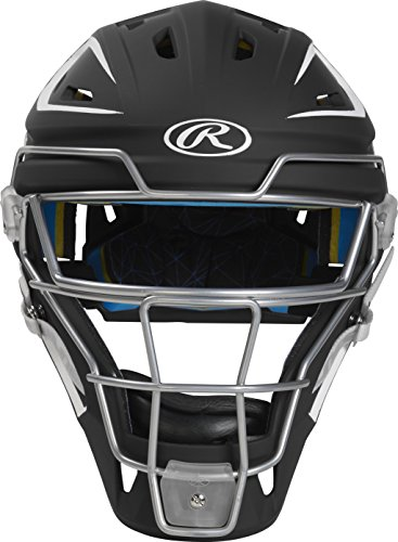(Rawlings CHMACH-B7/W7-SR 2-Tone Matte Catcher's Helmet, Black/White)