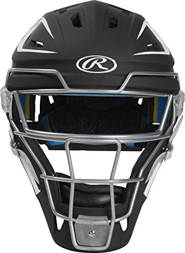 Rawlings CHMACH-B7/W7-SR 2-Tone Matte Catcher's Helmet, Black/White