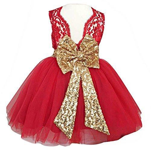 Sleeveless Girl Bridesmaid Dresses A Line Knee Ball Gown Sequin Baby Clothing for Little Kids Ball Gown Tutu Summer Formal Prom Pageant Dress 24 Months (Red, 100)