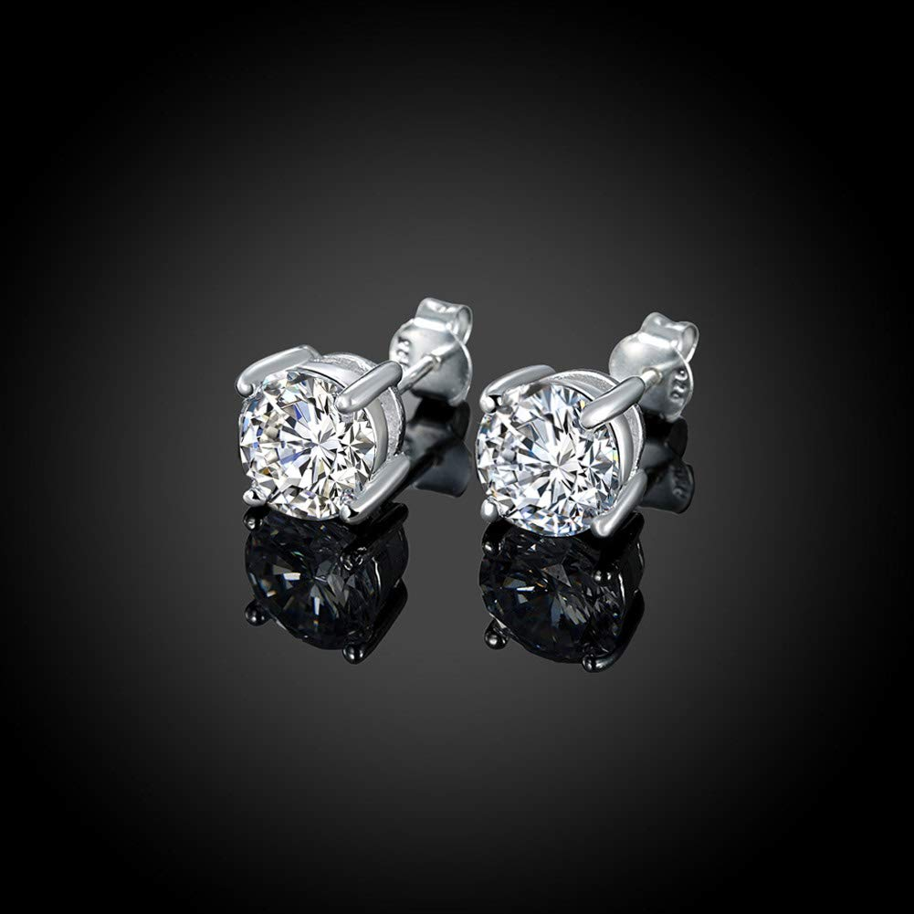 Sterling Silver Studs Earrings 3-6 Pairs Round Clear Cubic Zirconia Stud Earrings for Sensitive Ears priercing /…