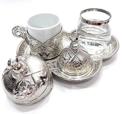 Rare Plated Coffee Set for Turkish, Arabic, Greek and Espresso Coffee serving set- For 1 person - 6 pieced (Silver)