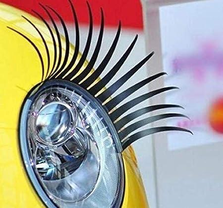 adesivi fari auto Ciglia nere auto Adesivo decorativo auto-styling 2 paia Ciglia auto
