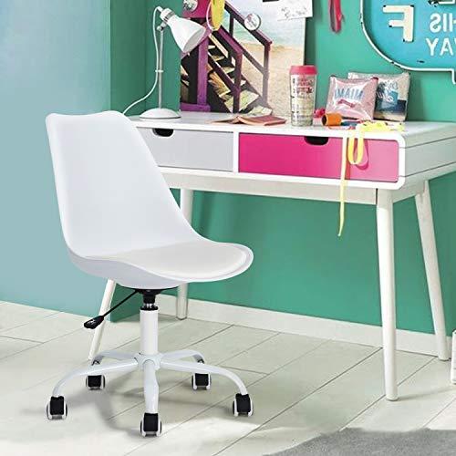 FurnitureR Silla de Oficina Moderna sin Material PP de Brazo Base de Recubrimiento en Polvo Blan